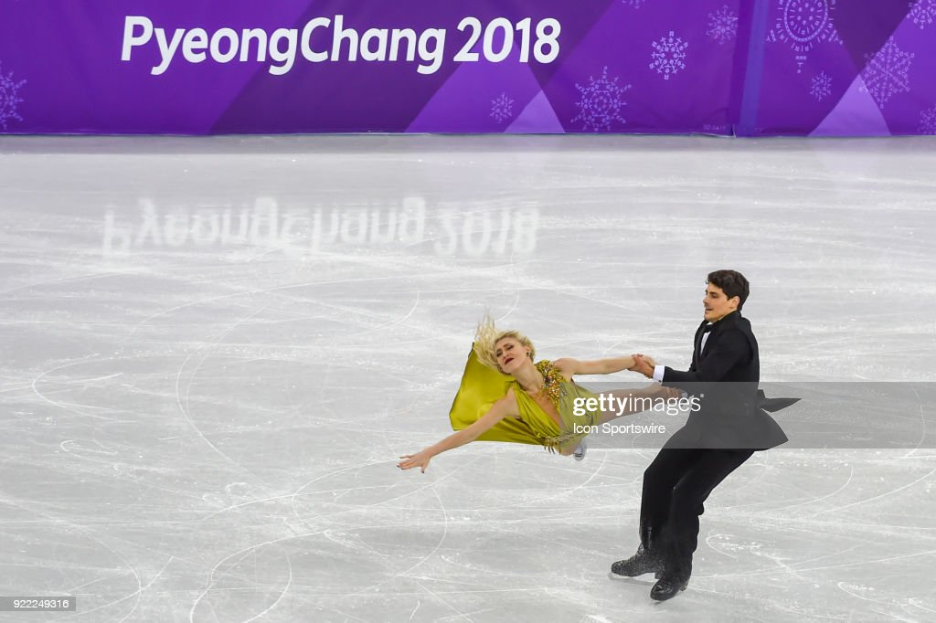 Piper Gilles and Paul Poirier (CAN) skate in the free dance of the Ice Dancing competition during the 2018 Winter Olympic Games at the Gangneung Ice Arena on February 20, 2018 in PyeongChang, South Korea.