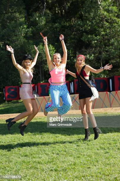Piper Koch and Annika Earl and Britney Koch all from Sydney seen on Day 1 of Splendour in the Grass 2018 on July 20 2018 in Byron Bay Australia