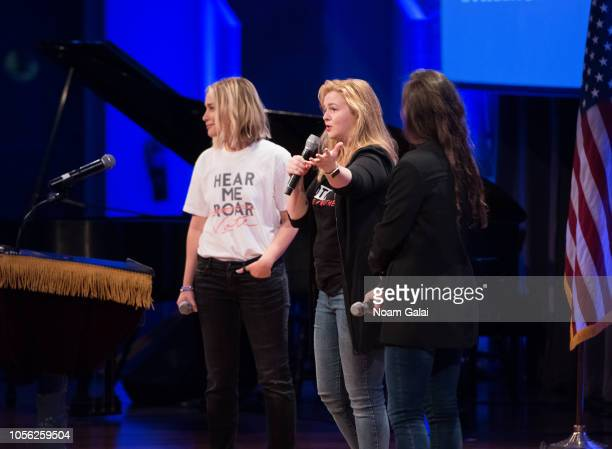 Piper Perabo Amber Tamblyn and Adrienne Lever attend Swing Left's 'The Last Weekend' Election Rally at Cooper Union on November 1 2018 in New York...