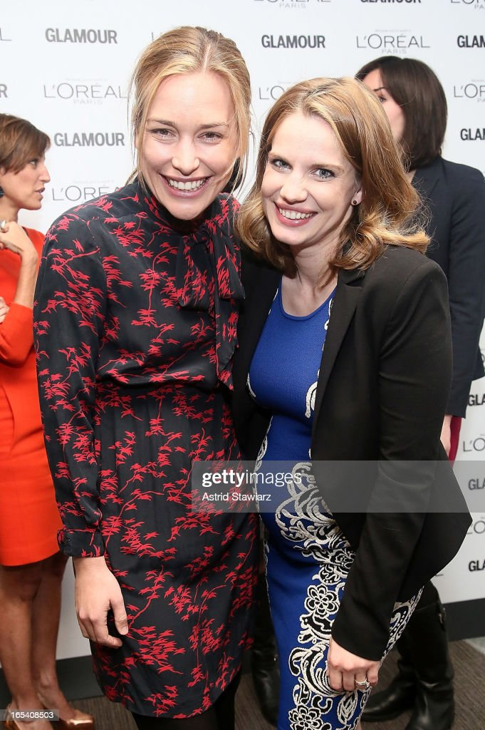 Piper Perabo and Anna Chlumsky attend the Glamour And L'Oreal Paris Celebration for the Top Ten College Women at The Diana Center At Barnard College on April 3, 2013 in New York City.