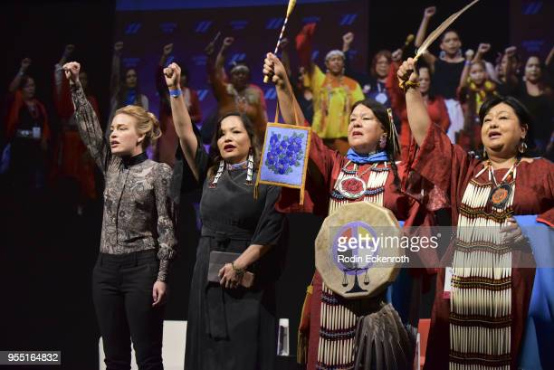Piper Perabo and the Tongva and Indigenous Women perform on stage at The United State of Women Summit 2018 Day 1 on May 5 2018 in Los Angeles...