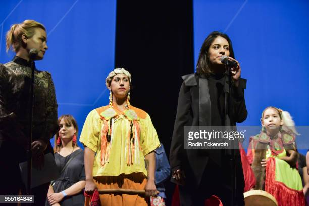 Piper Perabo Jessa Calderon and Olga Segura perform on stage at The United State of Women Summit 2018 Day 1 on May 5 2018 in Los Angeles California