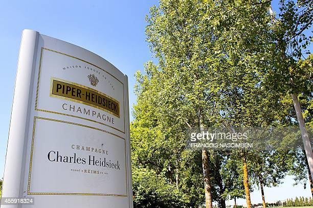 Piper-Heidsieck sign is displayed at the entrance of the Piper-Heidsieck company headquarters, near the French northeastern city of Reims, on June 1,...