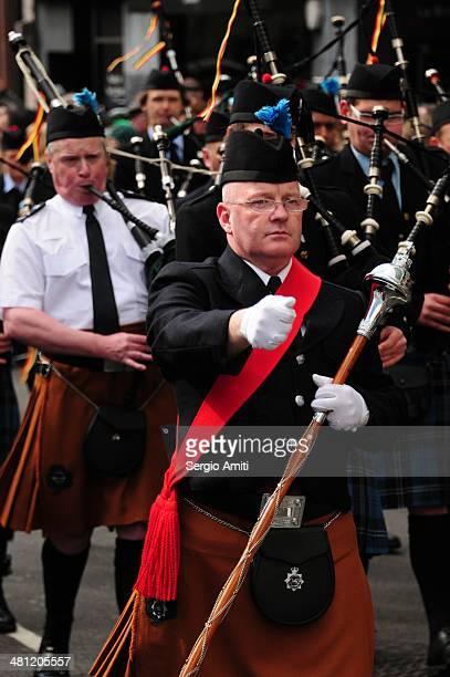 Pipers band at Saint Patrick's Day Parade London