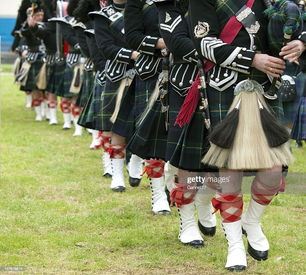 Pipers in a Marching Band, Scotland : Stock Photo