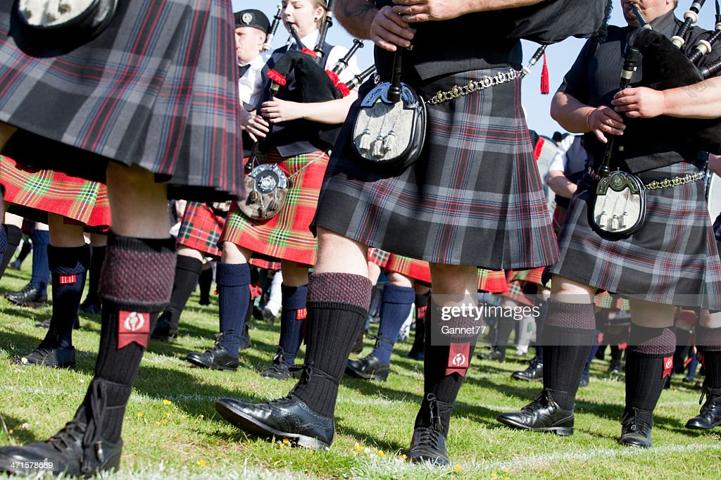 Pipers in a Massed Band at Aberdeen Highland Games, Scotland : Stock Photo