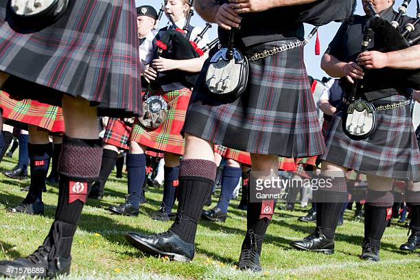 Pipers in a Massed Band at Aberdeen Highland Games, Scotland