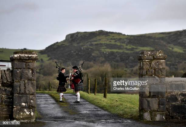 Pipers prepare for the funeral of Dolores O'Riordan at St Ailbe's Church Ballybricken on January 23 2018 in Limerick Ireland The Cranberries singer...
