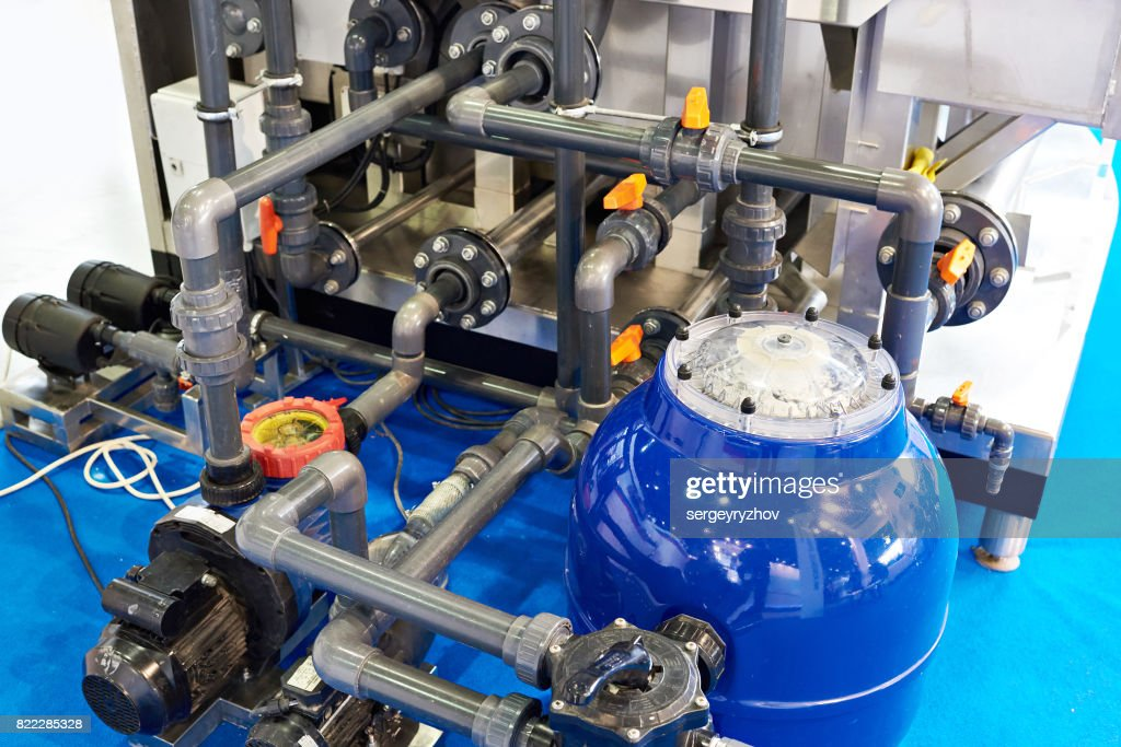 Pipes and equipment for swimming pools : Stock Photo