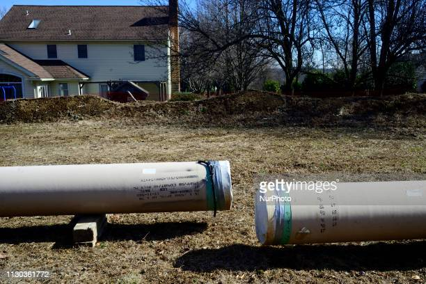 Pipes for natural gas liquids lay at the Mariner East 2 pipeline construction site in West Chester Pennsylvania on March 13 2019 In March...
