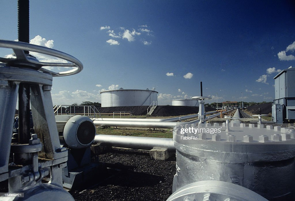 pipes in pump station of refinery : Stock Photo