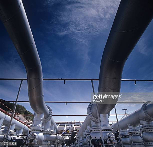 pipes in pump station of refinery
