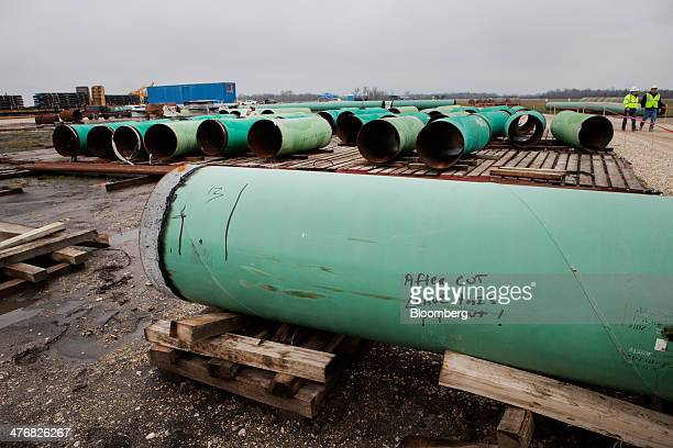 Pipes sit at the TransCanada Corp Houston Lateral Project pipe yard in Mont Belvieu Texas US on Wednesday March 5 2014 Russ Girling TransCanada Corp...