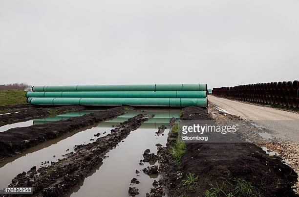 Pipes sit stacked at the TransCanada Corp Houston Lateral Project pipe yard in Mont Belvieu Texas US on Wednesday March 5 2014 Russ Girling...