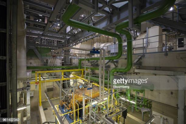 Pipework and tanks stand inside the coal powered power plant operated by RWE AG in Lingen Germany on Tuesday May 22 2018 RWE is transforming to focus...