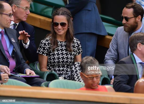 Pippa and James Middleton sister and brother of Catherine Duchess of Cambridge arrive in the royal box on centre court to watch the women's semifinal...
