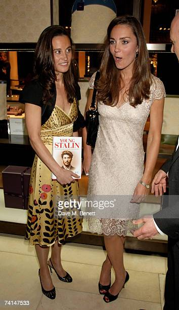 Pippa and Kate Middleton attend the book launch party of The Young Stalin: The Adventurous Early Life Of The Dictator 1878-1917 by Simon Sebag...