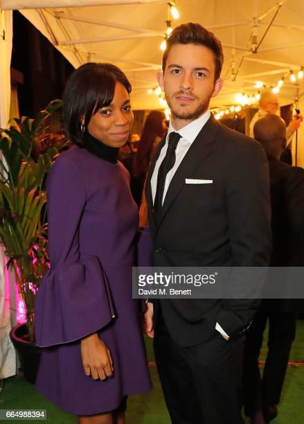 Pippa BennettWarner and Jonathan Bailey attend the opening of the new Labassa Woolfe antiques and tailoring boutique store on April 5 2017 in London...