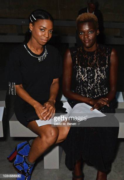 Pippa BennettWarner and Sheila Atim attend the Christopher Kane front row during London Fashion Week September 2018 at the Tate Modern on September...