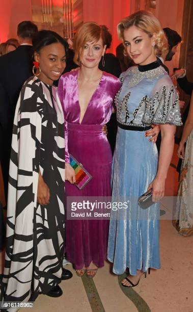 Pippa BennettWarner Emily Beecham and Stefanie Martini attend a drinks reception at the London Evening Standard British Film Awards 2018 at...