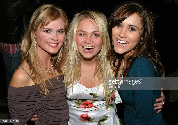 Pippa Black Stephanie McIntosh and Natalie Blair at the Neighbours 20th anniversary party on Collins Street 30 June 2005 THE AGE Picture by SHANEY...