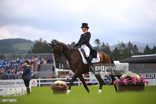 Pippa Funnell of Great Britain competes on Sandman 7 in the dressage during the Longines FEI European Eventing Championship 2015 at Blair Castle on...