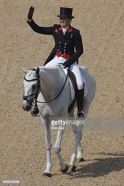 Pippa Funnell of Great Britain riding Billy The Biz competes in the Eventing Team Dressage event during equestrian on Day 2 of the Rio 2016 Olympic...