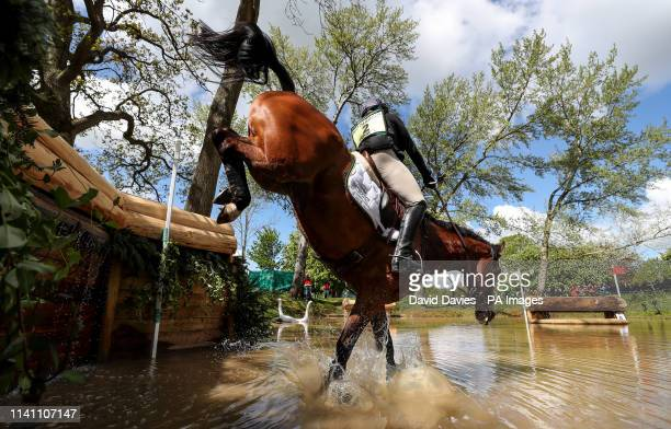 Pippa Funnell on Majas Hope at the Hildon Water Pond on the Cross Country during day four of the 2019 Mitsubishi Motors Badminton Horse Trials at The...
