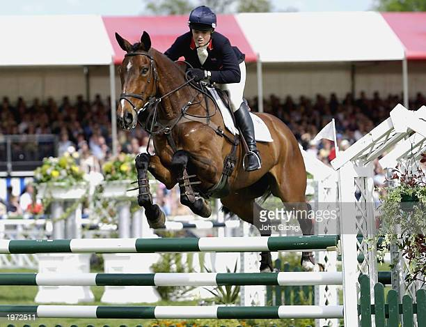 Pippa Funnell on Supreme Rock wins the 2003 Mitsubishi Motors Badminton Horse Trials for the second year running riding the same horse on May 4, 2003...