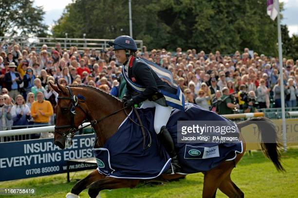 Pippa Funnell reacts following her victory at the Land Rover Burghley Horse Trials in Stamford Lincolnshire