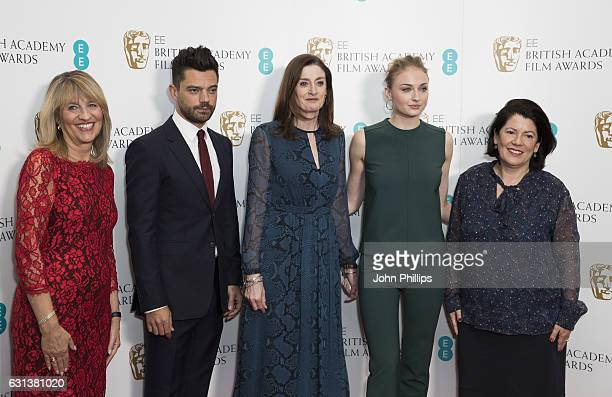 Pippa Harris Dominic Cooper Amanda Berry Sophie Turner and Jane Lush attend the nominations for the EE British Academy Film Awards are announced on...