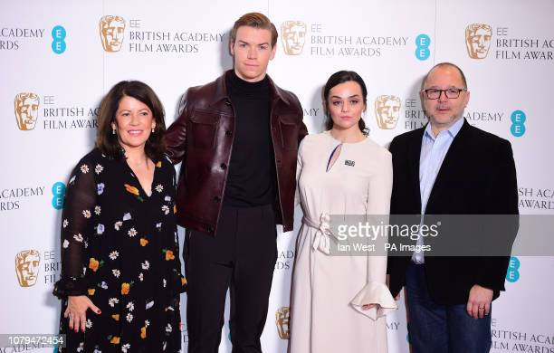 Pippa Harrris Will Poulter Hayley Squires and Marc Samuelson attending the EE British Academy Film Awards nominations announcement at BAFTA London