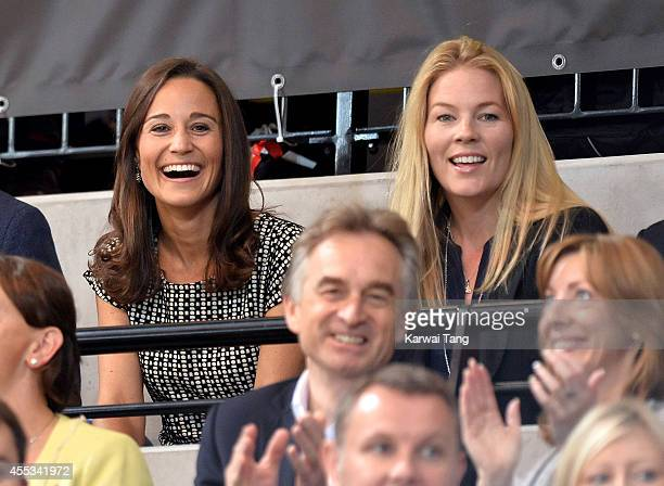 Pippa Middleton and Autumn Phillips attend an exhibition match of wheelchair rugby at the Invictus Games at Copperbox, Queen Elizabeth Park on...