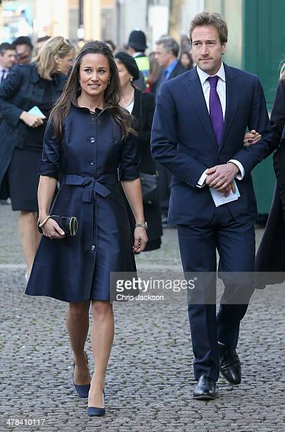 Pippa Middleton and Ben Fogle attends a memorial service for Sir David Frost at Westminster Abbey on March 13 2014 in London England