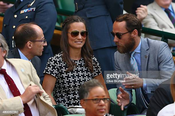 Pippa Middleton and her brother James Middleton attends day ten of the Wimbledon Lawn Tennis Championships at the All England Lawn Tennis and Croquet...