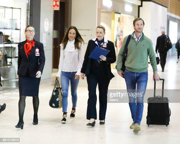 Pippa Middleton and her husband James Matthews are seen at Sydney airport on June 1 2017 in Sydney Australia