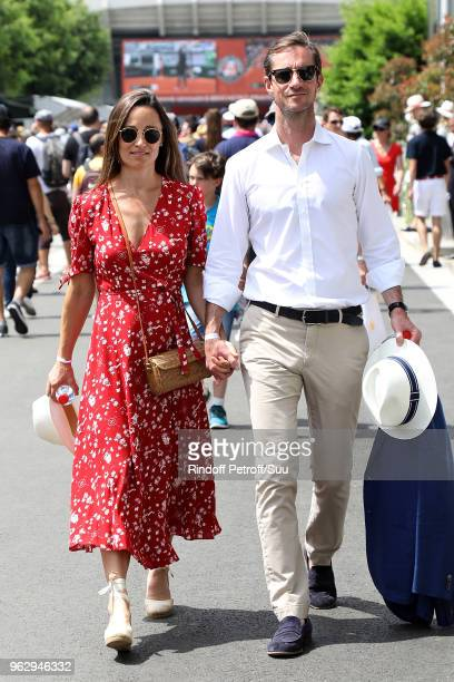 Pippa Middleton and her husband James Matthews are seen attending the french open at Roland Garros on May 27 2018 in Paris France
