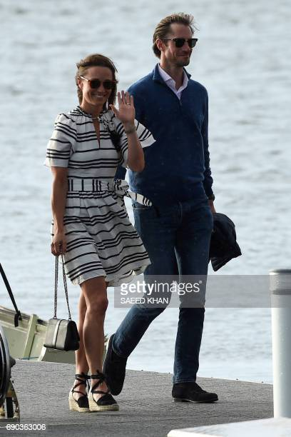 Pippa Middleton and her husband James Matthews arrive at Rose Bay Wharf by sea plane in Sydney on May 31 2017 Pippa and Matthews who married on May...
