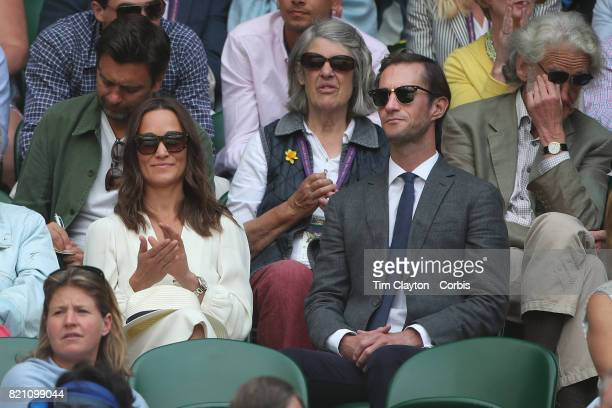 Pippa Middleton and her husband James Matthews at the Gentlemen's Singles Semifinals of the Wimbledon Lawn Tennis Championships at the All England...