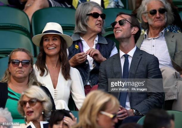 Pippa Middleton and her husband James Matthews on day eleven of the Wimbledon Championships at The All England Lawn Tennis and Croquet Club Wimbledon