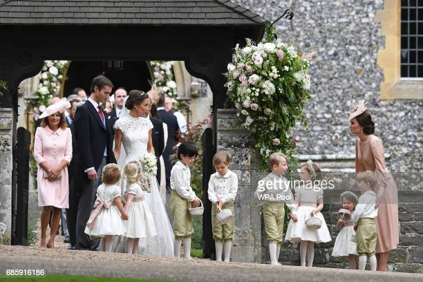 Pippa Middleton and her new husband James Matthews are seen with Catherine Duchess of Cambridge and her children Prince George of Cambridge and...