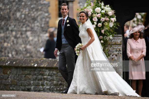 Pippa Middleton and her new husband James Matthews leave St Mark's Church in Englefield, west of London, on May 20, 2017 following their wedding...