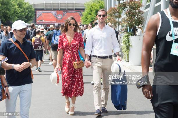 Pippa Middleton and James Matthews are seen in Roland Garros on May 27 2018 in Paris France