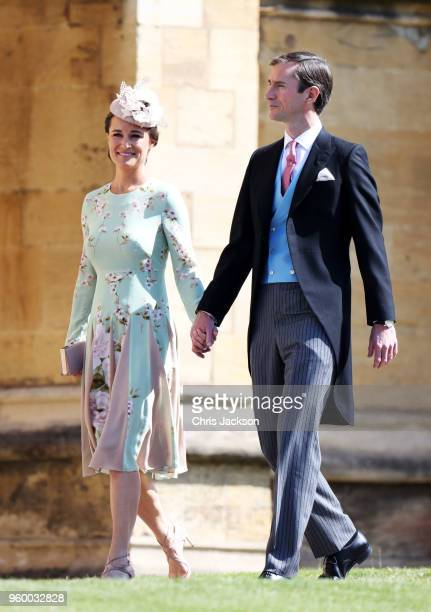 Pippa Middleton and James Matthews arrive at the wedding of Prince Harry to Ms Meghan Markle at St George's Chapel Windsor Castle on May 19 2018 in...