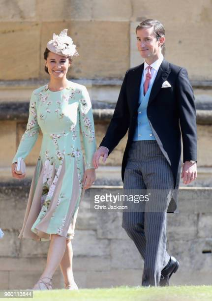 Pippa Middleton and James Matthews arrive at the wedding of Prince Harry to Ms Meghan Markle at St George's Chapel, Windsor Castle on May 19, 2018 in...