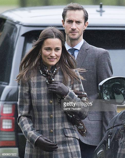 Pippa Middleton and James Matthews attend church on Christmas Day on December 25 2016 in Bucklebury Berkshire