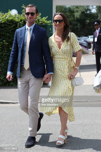Pippa Middleton and James Matthews attend day 11, the Mens semi-finals at the Wimbledon 2019 Tennis Championships at All England Lawn Tennis and...