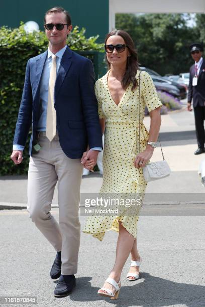 Pippa Middleton and James Matthews attend day 11 the Mens semifinals at the Wimbledon 2019 Tennis Championships at All England Lawn Tennis and...