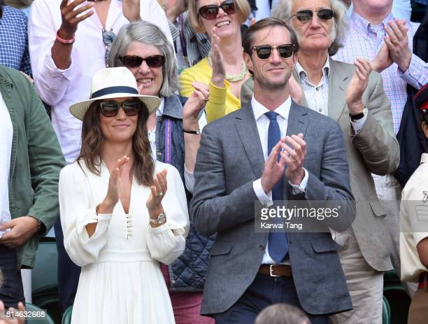 Pippa Middleton and James Matthews attend day eleven of the Wimbledon Tennis Championships at the All England Lawn Tennis and Croquet Club on July 14...
