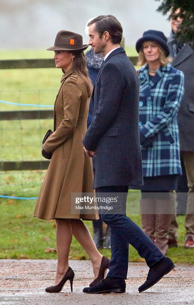 Pippa Middleton and James Matthews attend the Sunday service at St Mary Magdalene Church, Sandringham on January 8, 2017 in King's Lynn, England.